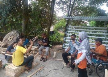 Aktivitas komunitas sahabat difabel Lampung di Bandar Lampung. Lampung Post/ Dian Wahyu Kusuma